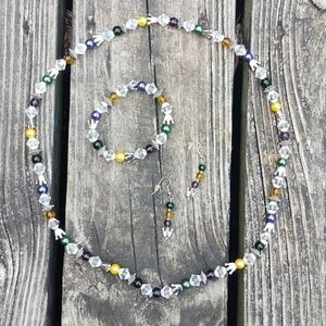⭐HP⭐ glass Crystal AB necklace bracelet earring